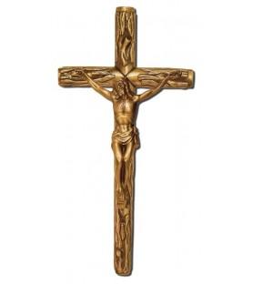 Cruz rustica con cristo bronce