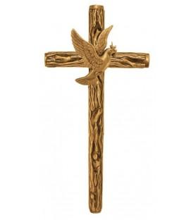 Cruz rustica con paloma bronce