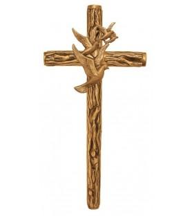 Cruz rustica con vuelo de palomas bronce