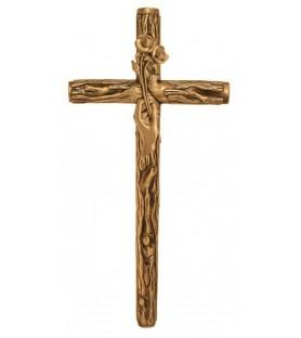 Cruz rustica con mano con flor bronce