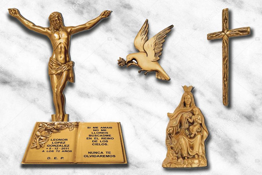Imágenes religiosas, cruces, libros, pergaminos y letras en bronce